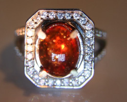 Spessartine Garnet 5.70ct Platinum Finish Solid 925 Sterling Silver Ring