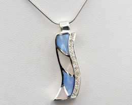 Natural Paua Shell (Abalone), CZ and 925 Silver Necklace