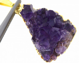 37 CTS AMETHYST CRYSTAL GOLD PLATED PENDANT SJ-1058