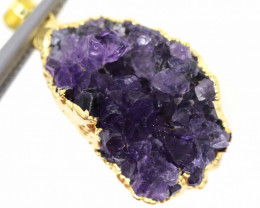28.60 CTS AMETHYST CRYSTAL GOLD PLATED PENDANT SJ-1062