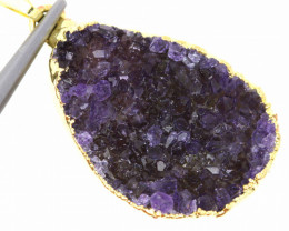 20 CTS AMETHYST CRYSTAL GOLD PLATED PENDANT SJ-1063