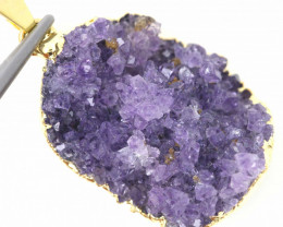 26.30 CTS AMETHYST CRYSTAL GOLD PLATED PENDANT SJ-1065