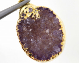 13.20 CTS AMETHYST CRYSTAL GOLD PLATED PENDANT SJ-1067