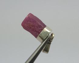 Natural Corundum Ruby Crystal Silver Pendant