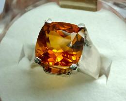 Natural Dark Orange Citrine 925 Sterling Silver Ring