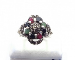 RUBY EMERALD SAPPHIRE MIXED 925 SILVER RING B 12