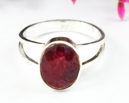 Stunning Genuine Red Ruby Ring In Silver