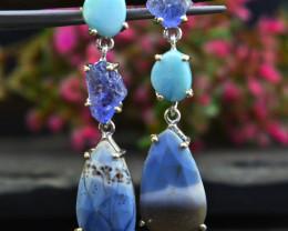 Stunning Genuine Blue Lace Agate Ear Studs / Earrings In Silver