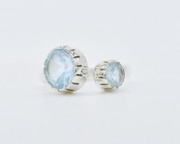 BLUE TOPAZ RING 925 STERLING SILVER NATURAL GEMSTONE JR396