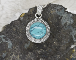 TURQUOISE PENDANT 925 STERLING SILVER NATURAL GEMSTONE JP241
