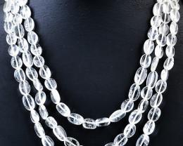 Genuine 3 Strand White Quartz Necklace