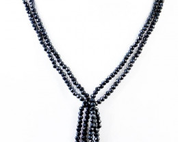 2 Lines Black Spinel Faceted Beads Necklace