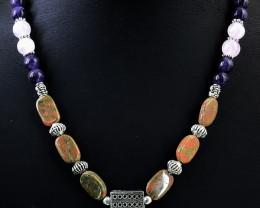 Pink Rose Quartz,  Amethyst & Blood Green Unakite Beads Necklace