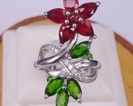 Natural Glass filled Ruby and chrome diopside ring