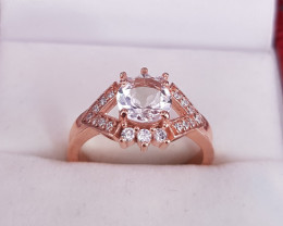 Unique Morganite Ring in Rose Gold Plated with CZ