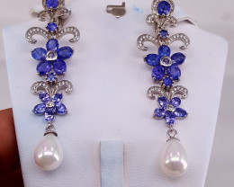 Natural Tanzanite and Pearls Earring with CZ.