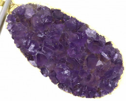 58CTS AMETHYST CRYSTAL GOLD PLATED PENDANT SJ-1078