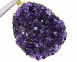 42CTS AMETHYST CRYSTAL GOLD PLATED PENDANT SJ-1079
