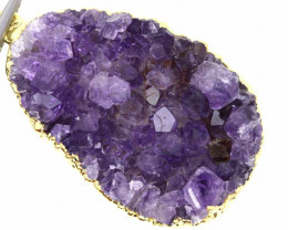 52CTS AMETHYST CRYSTAL GOLD PLATED PENDANT SJ-1081