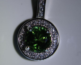 Chrome Tourmaline 1.00ct White Gold Finish Solid 925 Sterling Silver Pendan