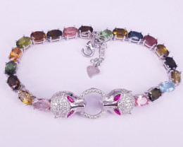 New Design Mix Color Tourmalines Bracelet in Silver 925