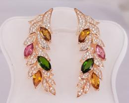 Fantastic looking Natural Tourmaline Earrings in Rose Gold