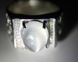 Moonstone 3.85ct White Gold Finish Solid 925 Sterling Silver Ring      Size