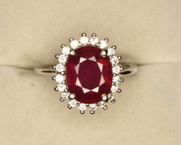 Glass Filled Ruby With CZ in Silver 925