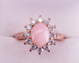 Beautiful Pink Opal Ring with CZ