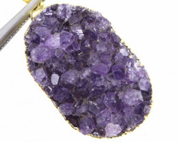 54.10 CTS AMETHYST CRYSTAL GOLD PLATED PENDANT SJ-1090