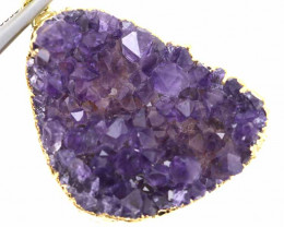 52.75 CTS AMETHYST CRYSTAL GOLD PLATED PENDANT SJ-1091
