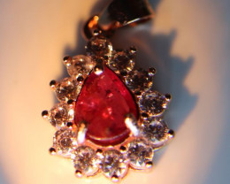 Tajik Ruby .50ct Rose Gold Finish Solid 925 Sterling Silver Pendant, Natura