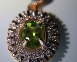 Peridot 1.50ct Rose Gold Finish Solid 925 Sterling Silver Pendant, Natural