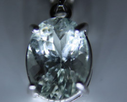 Aquamarine 2.15ct White Gold Finish Solid 925 Sterling Silver Pendant, Aqua