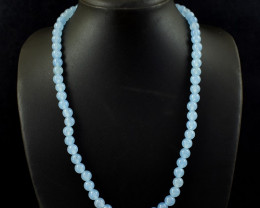 230.00 Cts Blue Chalcedony Round Shape Beads Necklace
