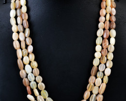 3 Strand Peach Moonstone Beads Necklace