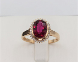 Natural Beautiful Oval cut Rubyllite and diamond 18K Gold ring