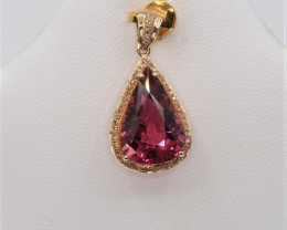 Natural Top beautiful Pear cut   Rubyllite and  diamonds in 18K Gold pendan