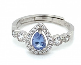 Tanzanite .45ct White Gold Finish Solid 925 Sterling Silver Ring     Size 7