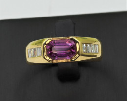 Hot Pink Ceylon  Sapphire and Diamonds in 18K Gold Ring