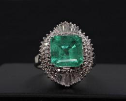 Natural Emeraldcut Emerald   and Diamonds  in 95cPlatinum Ring