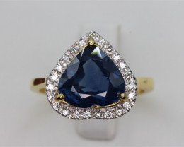 Natural Top beautiful heart shape Royalblue Sapphire Ceylon and Diamonds i