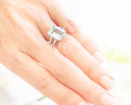 18ct White Gold Aquamarine and Diamond Split band Ring