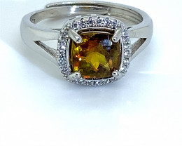 Sphene 1.55ct White Gold Finish Solid 925 Sterling Silver Ring    Size 6.25