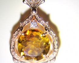 Sphene 3.10ct Rose Gold Finish Solid 925 Sterling Silver Pendant
