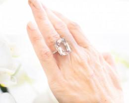 18ct White Gold Cushion Cut Morganite and Diamond Ring