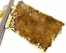 32.05 cts CITRINE CRYSTAL GOLD PLATED PENDANT SJ-1105