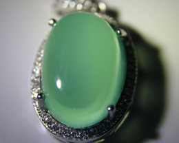 Green Cats Eye Calcite 11.45ct White Gold Finish Solid 925 Sterling Silver