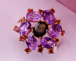 Natural tourmaline,amethyst and sapphire Ring.