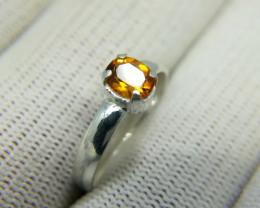 Natural Yellow Citrine 8.80 Carats 925 Silver Ring